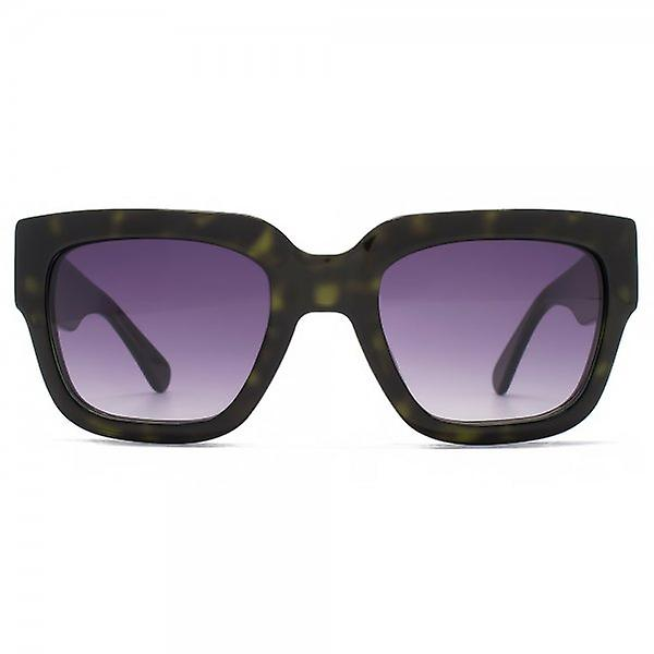 French Connection Premium Bold Square Sunglasses In Khaki Tortoiseshell