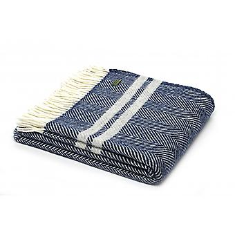 Tweedmill Pure New Wool Fishbone 2 Stripe Throw - Navy/Silver Grey