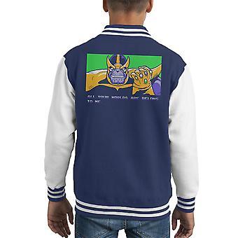 Alle deler er tilhører meg Thanos null Wing Kid's Varsity jakke