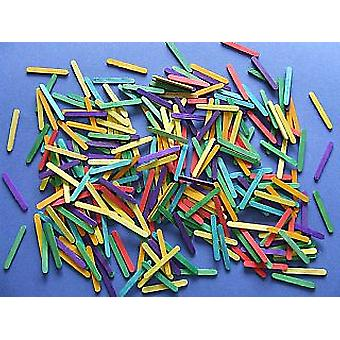 300 Mini Coloured Lolly Sticks - 58mm x 7mm | Wooden Shapes for Crafts