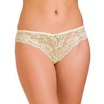 Camille Lime Lace Lingerie  Bow French Knickers Thongs