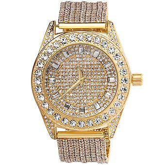 高品質 CZ を完全アイス時計 - ゴールド