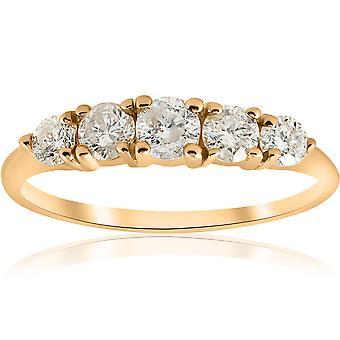 1 ct TDW 5-pietra graduata anniversario anello di diamante 14k oro giallo