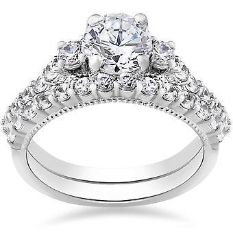 2 ct Diamond Vintage Engagement Wedding Ring Set 14k White Gold