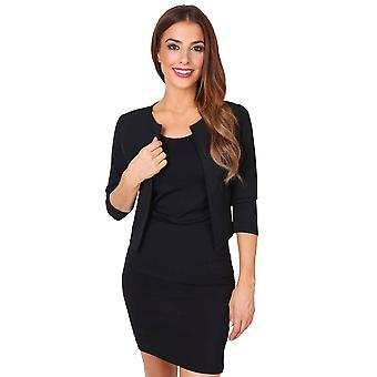 KRISP  Womens Ladies Tailored 3 4 Sleeve Wedding Party Crop Shrug Blazer Jacket Bolero