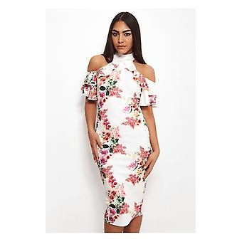 The Fashion Bible Tiana Floral Cold Shoulder Midi Dress