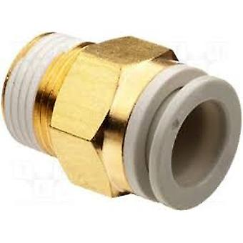 SMC Pneumatic Straight Threaded-To-Tube Adapter, R 3/8 Male, Push In 12 Mm