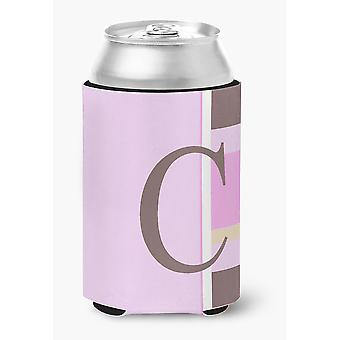 Letter C Initial Monogram - Pink Stripes Can or Bottle Beverage Insulator Hugger