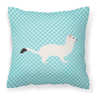 Armiño comadreja cola corta azul cheque tejido decorativo de la almohadilla