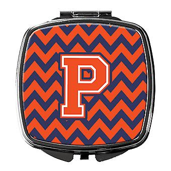Carolines Treasures  CJ1042-PSCM Letter P Chevron Orange and Blue Compact Mirror