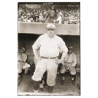 Babe Ruth at Yankees Dugout 1921 Poster Print (12 x 18)
