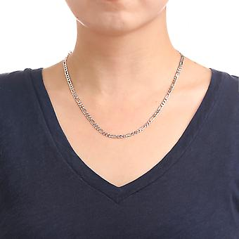 Sterling Silver Rhodium Plated Italian Solid Figaro Chain Necklace,4.4mm
