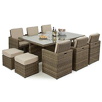 Maze Rattan Winchester 7 Piece Cube Set with 6 Foot Stools