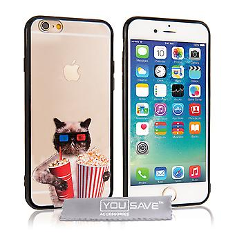 Yousave Accessories Iphone 6 And 6s Fun Case - Popcorn Cat Design