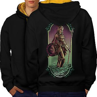 Warrior Woman Art Fashion Men Black (Gold Hood) Contrast Hoodie Back | Wellcoda