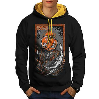 Pumpkin Invitation Horror Men Black (Gold Hood) Contrast Hoodie | Wellcoda