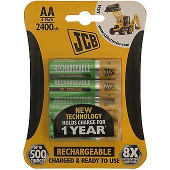 4 x JCB AA 2400mAh genopladelige batterier HR6 opladet og klar til brug