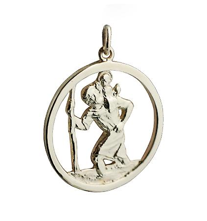 9ct Gold 30mm round cut out St Christopher Pendant
