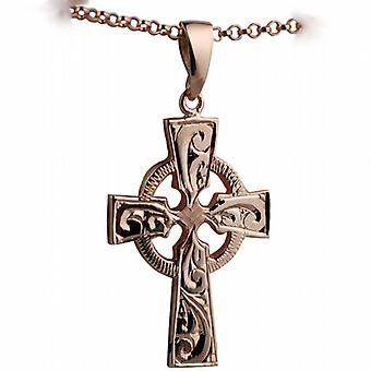 9ct Rose Gold 35x24mm hand engraved Celtic Cross with bail on a belcher Chain 24 inches