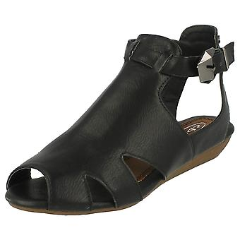 Ladies Spot On Low Wedge Cut Out Sandals 'F10223'