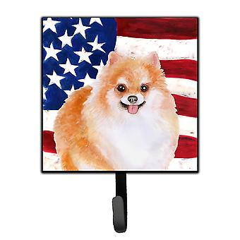 Carolines Treasures  BB9716SH4 Pomeranian #2 Patriotic Leash or Key Holder