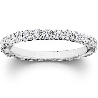 1ct Diamond Eternity Wedding Ring in 14k White, Yellow, Rose Gold, or Platinum