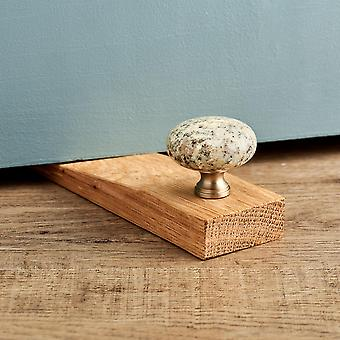 Kashmir White Granite Stone Oak Wedge Door Stop