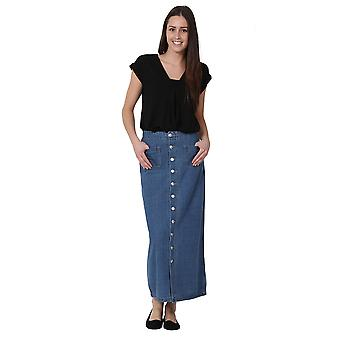 Long Stonewash Denim Skirt Maxi Skirt Full Length Denim Skirt Button Front