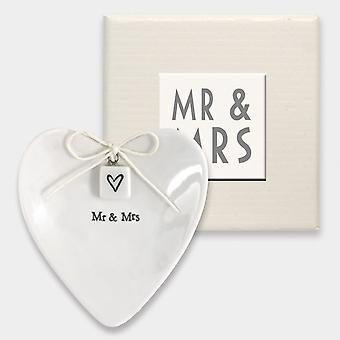 East of India, Ring Dish 'Mr & Mrs' Wedding Rings Keepsake / Ring Bearer