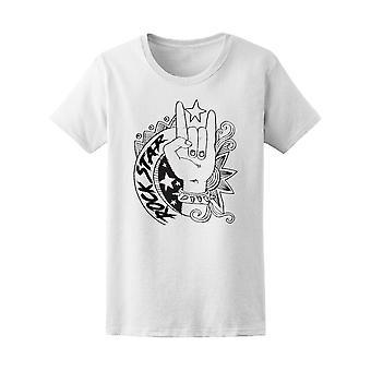 Rockstar Hand Geste Tee Frauen-Bild von Shutterstock