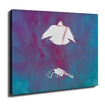 Pistola uccello Cool Gangster parete arte tela 50 x 30 cm | Wellcoda