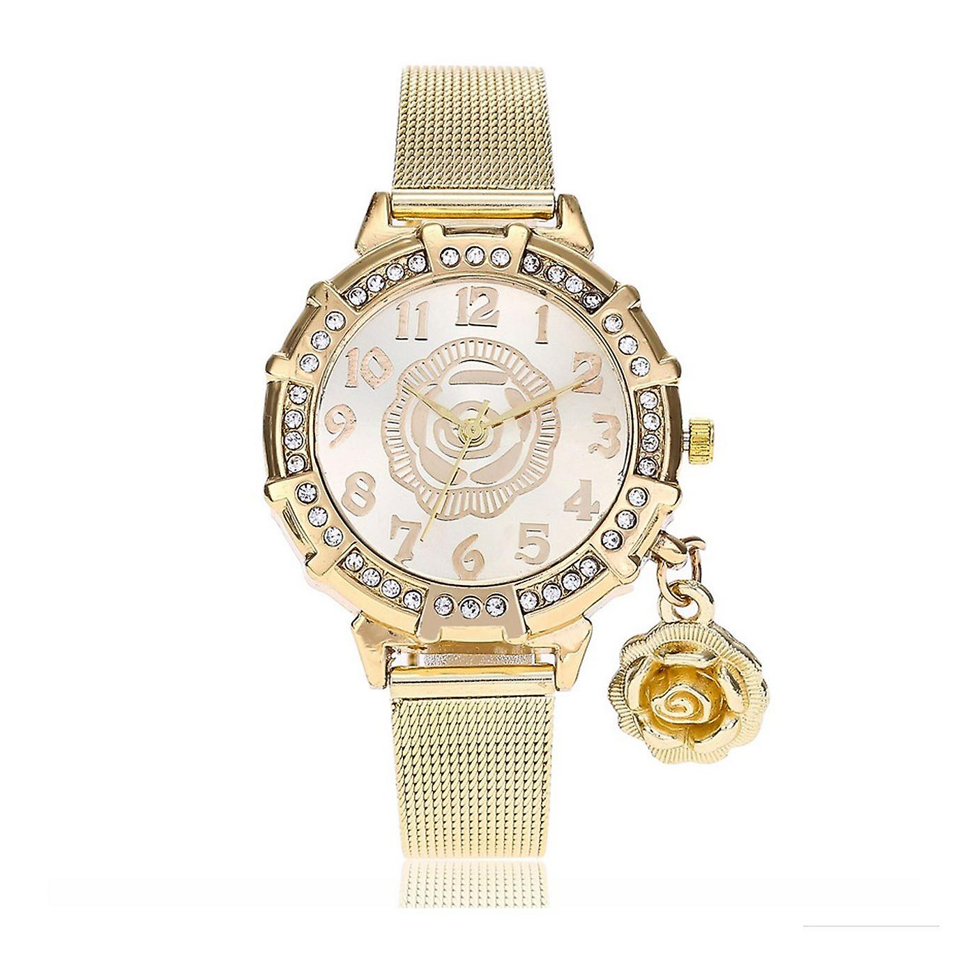 Classy Yellow Gold Flower Watch Luxury Stones Elegant Time GOLD Mesh Bracelet