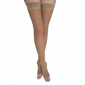 Pebble UK Toeless Sheer Compression Thigh Highs [Style P48] Nude  XL