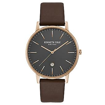 Kenneth Cole New York men's wrist watch analog quartz leather KC50009002
