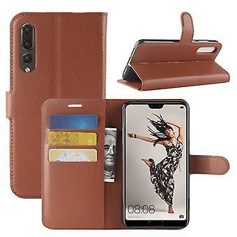 Pocket plånbok premium Brown för Huawei P20 per skydd ärm fall täcka påse nya tillbehör
