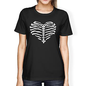 Skeleton Heart Cute Halloween Tshirt For Women Round Neck Cotton
