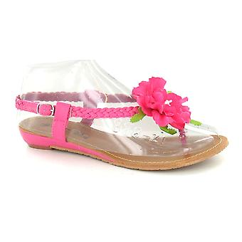 Дамы пятно на низкий клин цветок детали сандалии