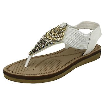 Ladies Savannah Low Wedge Beaded Toepost Sandals F0989