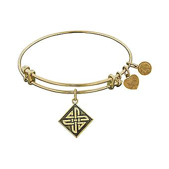 Smooth Finish Brass Celtic Square Knot Angelica Bangle Bracelet, 7.25