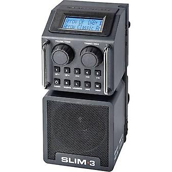 PerfectPro Slim 3 DAB+ Workplace radio AUX, Bluetooth, DAB+, SD, FM, USB shockproof, splashproof, dustproof, rechargeable Black
