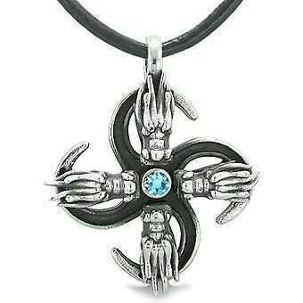 Übernatürliche Dragon Magic versorgt alle Kräfte der Natur Amulett himmelblau Kristall Anhänger Halskette
