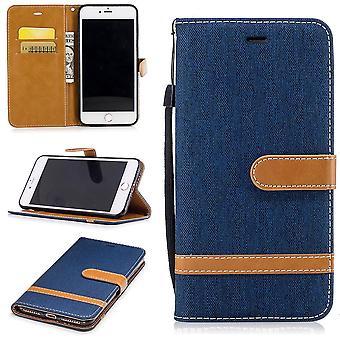 Tasche für Apple iPhone 7 Plus Jeans Cover Handy Schutz Hülle Case Dunkelblau