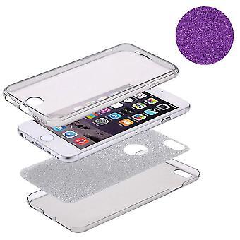 Housse Etui cristal pour Samsung Galaxy touch 8 paillettes violet plein corps de boîtier