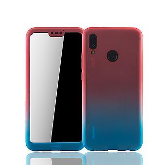 Huawei P20 Lite Handy-Hülle Schutz-Case Full-Cover Panzer Schutz Glas Rot / Blau