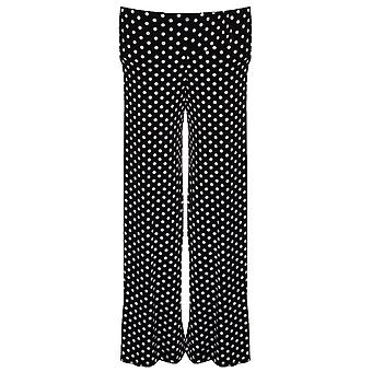 Children's Polka Dot Spotted Black White Flare Baggy Girls Party Trousers