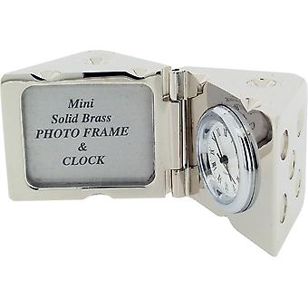 Gift Time Products Dice and Photo Frame Miniature Clock - Silver