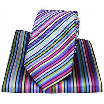 Posh and Dandy Thin Striped Tie and Pocket Square Set - Multi-colour