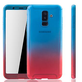 Samsung Galaxy A6 + plus 2018 mobile case protection-case full cover tank protection glass blue / red