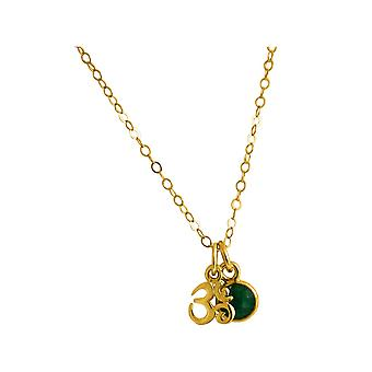 Gemshine YOGA meditation ohm necklace 925 Silver, gold plated or rose. 1.3 cm pendant with green Emerald. Sustainable, quality jewelry made in Spain