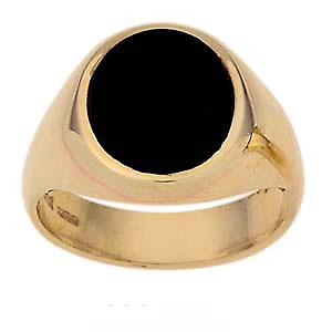 9ct Gold 14x12mm gents Onyx set oval Signet ring